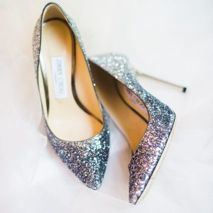 silver glitter high heels for successful woman